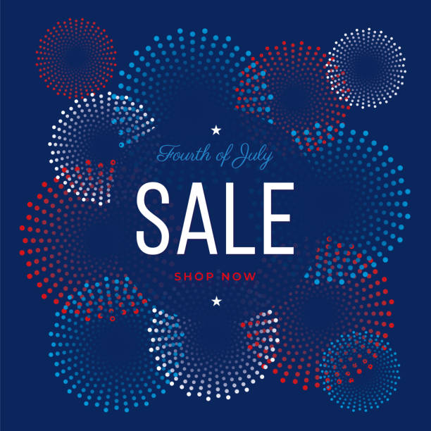 Fourth of July sale design for advertising, banners, leaflets and flyers vector art illustration