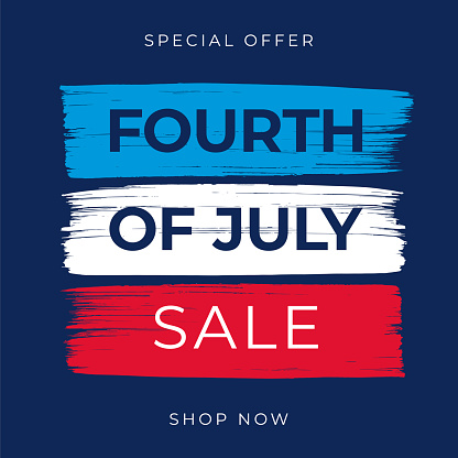 Fourth of July Sale Design with Brushes.