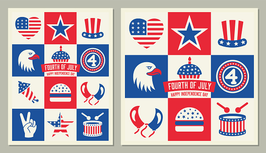 Fourth of July square icons Greeting Card