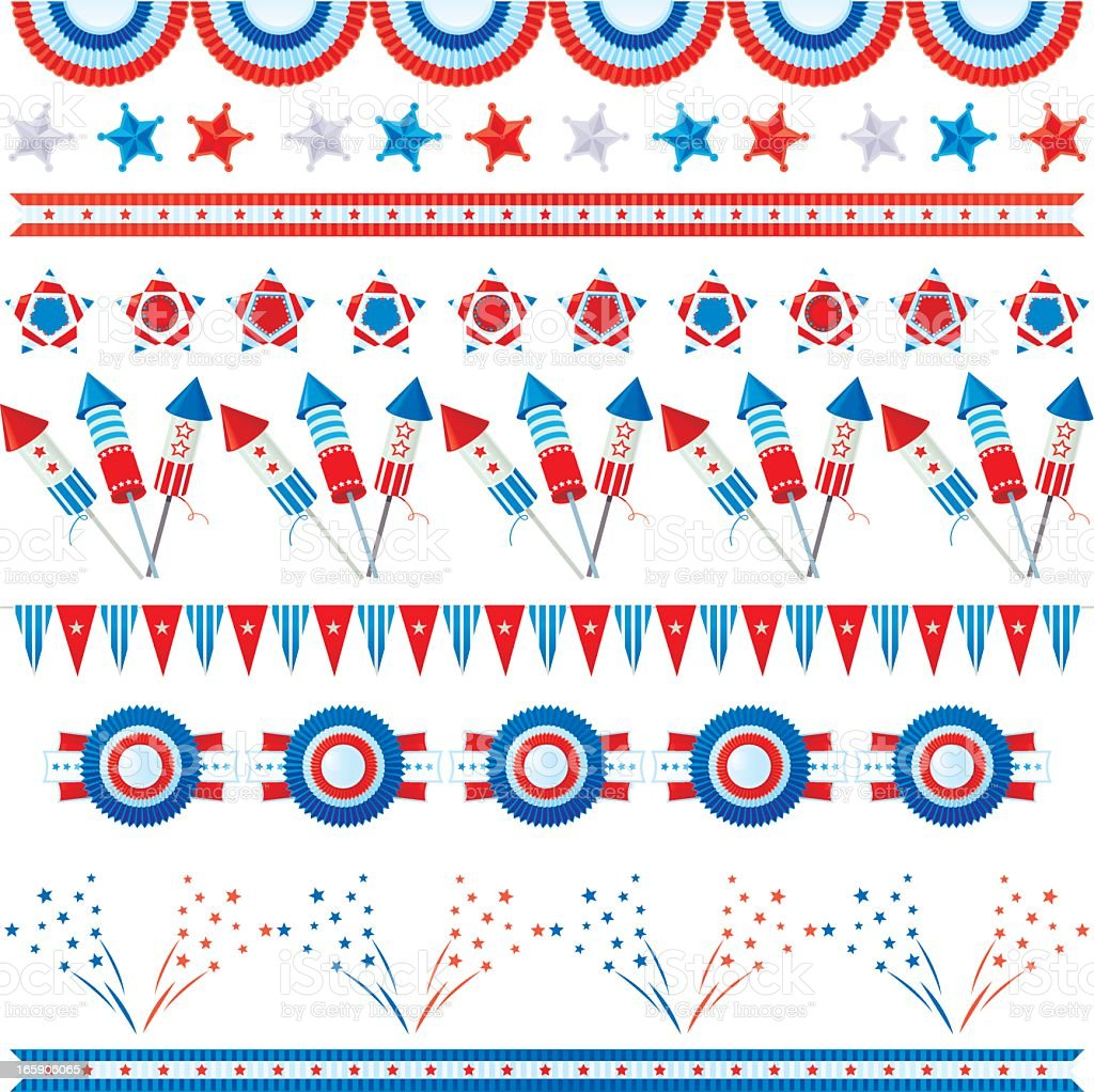 Fourth of July themed red white and blue design elements royalty-free stock vector art