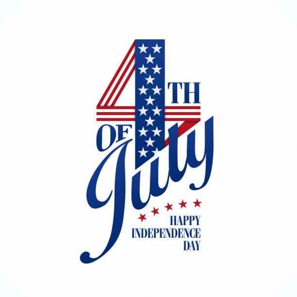 fourth of july typographic lettering - independence day stock illustrations
