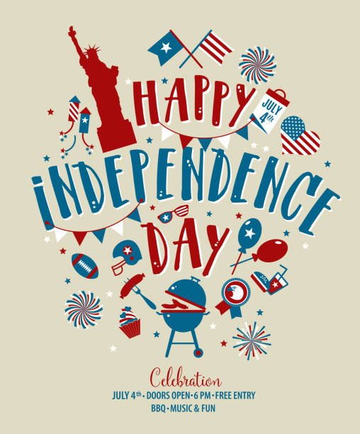Fourth of July, United Stated independence day greeting. July 4th typographic design. Usable for greeting cards, banners, print and invitation. Fourth of July, United Stated independence day greeting. Usable for greeting cards, banners, print. circa 4th century stock illustrations