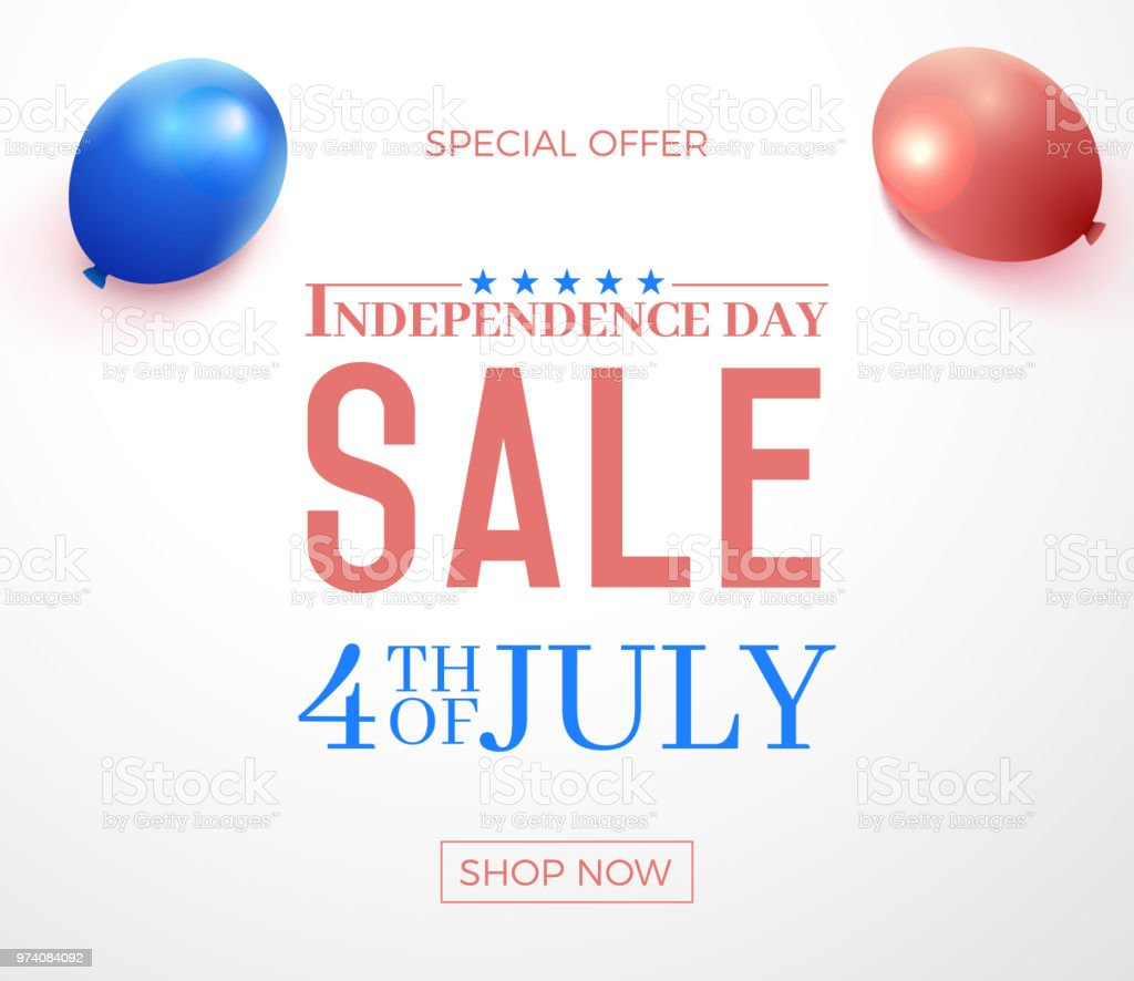 Fourth of July, United States of America Independence Day special offer sale. Vector banner illustration background with text, stars, flag colors and balloons. For your sales, promotions, events and other online business vector art illustration