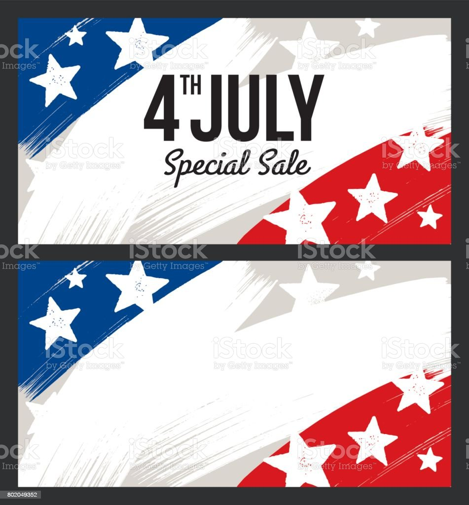 Fourth Of July Usa Unabhängigkeit Tag Verkauf Banner Illustration