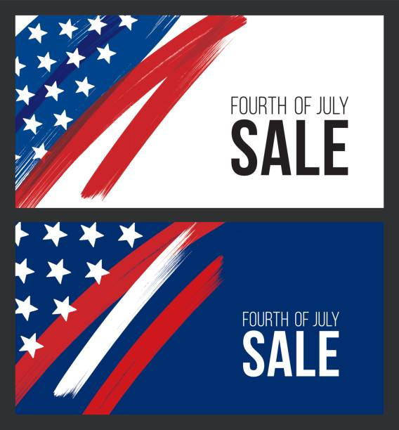 Fourth of July USA Independence day sale banner - Illustration Fourth of July USA Independence day sale banner. Layout template design. independence day illustrations stock illustrations