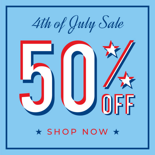 Fourth of July USA Independence day sale banner vector art illustration