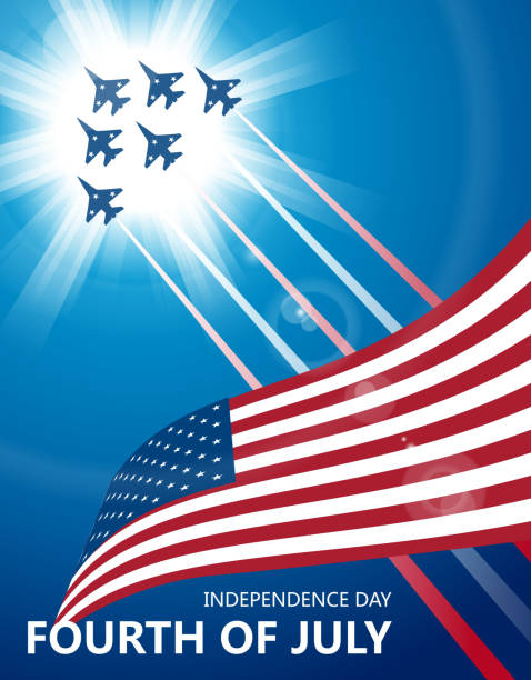 Fourth of july Gradient and transparent effect used. air force stock illustrations