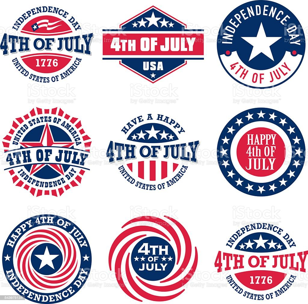 Fourth of July vintage labels for US Independence Day vector art illustration