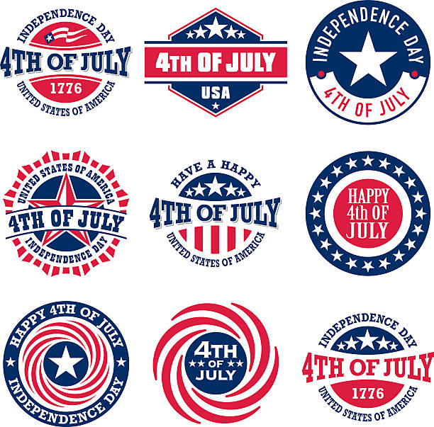 Fourth of July vintage labels for US Independence Day Fourth of July vintage labels commemorating United States of America Independence Day circa 4th century stock illustrations