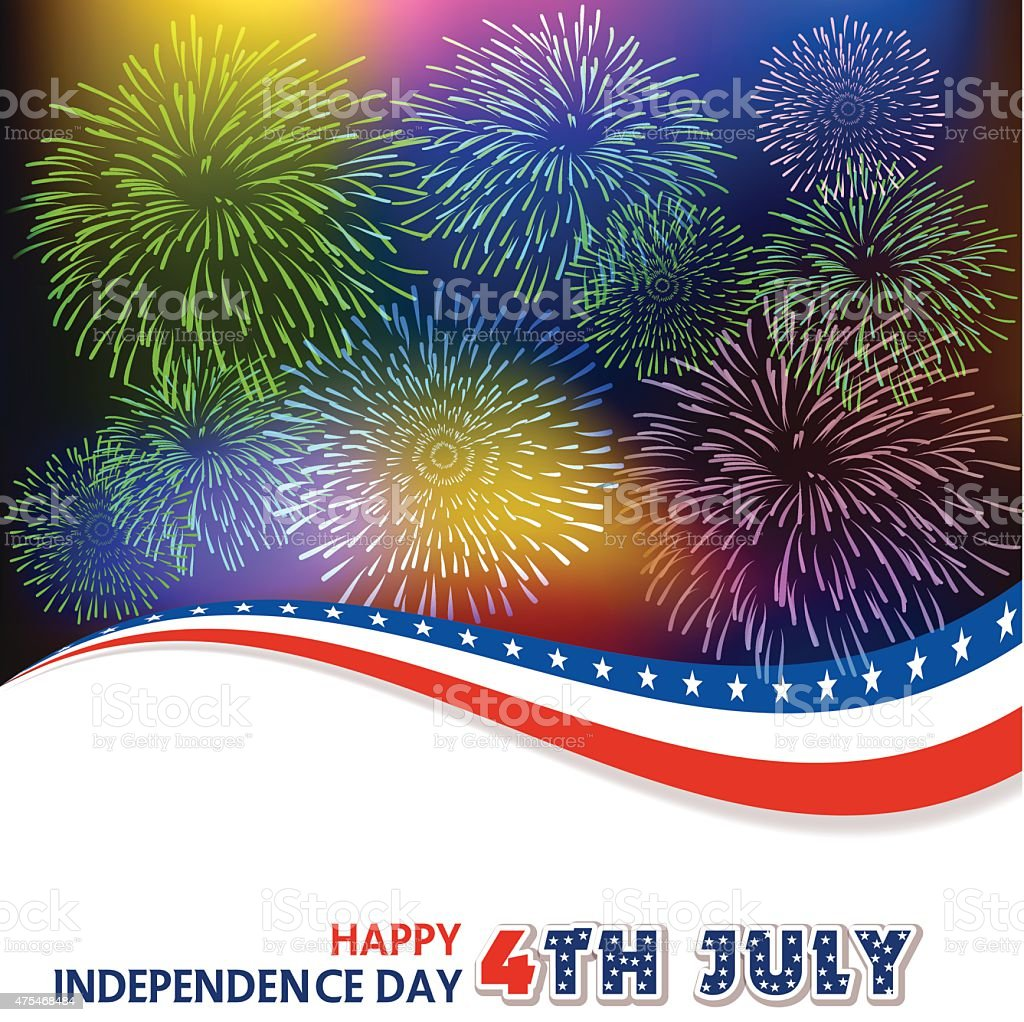 Fourth of July with firework Background vector art illustration