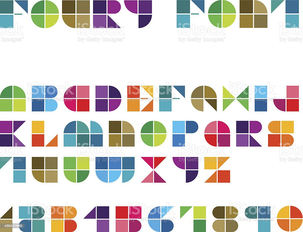 Foury Line Font vector art illustration