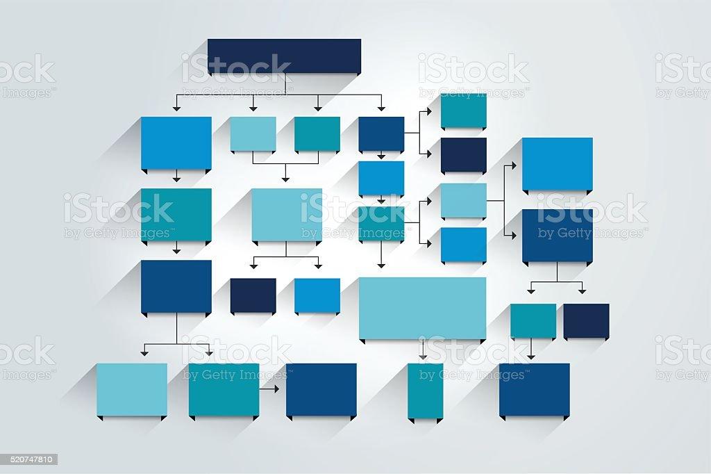 Organigrama. Sombras esquema de color azul. - ilustración de arte vectorial