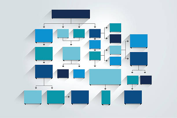 fowchart. blue colored shadows scheme. - flowing stock illustrations, clip art, cartoons, & icons