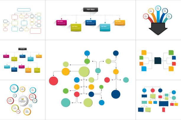 Fowcharts schemes, diagrams. Mega set. Simply color editable. Infographics elements. Mega set of various  flowcharts schemes, diagrams. Simply color editable. Infographics elements. flowing stock illustrations