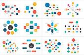 Fowcharts schemes, diagrams. Mega set. Simply color editable. Infographics elements.