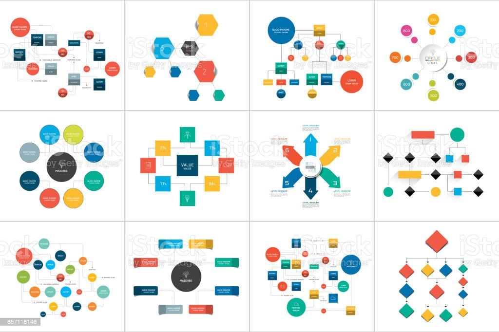 Fowcharts esquemas, diagramas. Conjunto de mega. Simplemente color editable. Elementos de infografía. - ilustración de arte vectorial