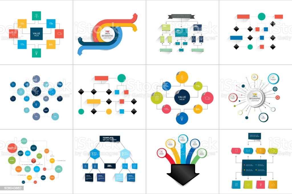 Fowcharts schemes, diagrams. Mega set. Simply color editable. Infographics elements. - illustrazione arte vettoriale
