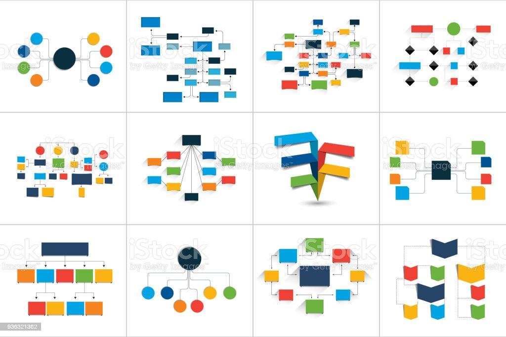 Ilustraci U00f3n De Fowcharts Esquemas Diagramas Conjunto De