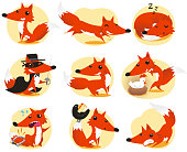 Cute Fox cartoon inaction set, with fox in nine different situations like: posing, running, sleeping, detective fox, looking backwards, with chicken, in trouble with a rat trap, with a blackbird and, also, an annoyed fox vector illustration.