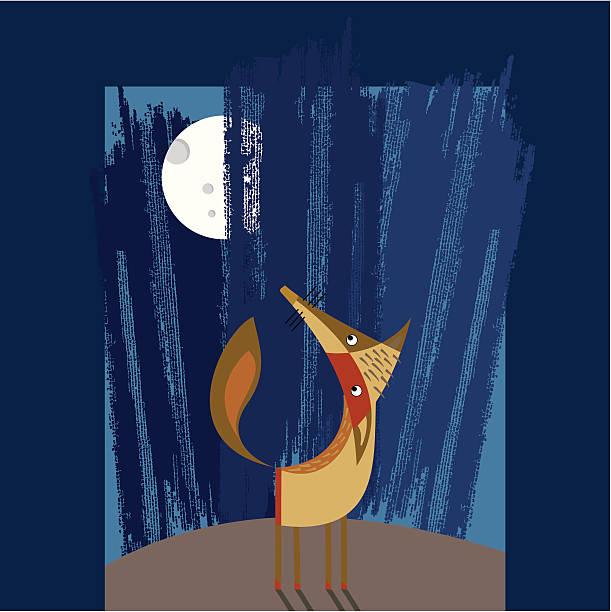 ilustraciones, imágenes clip art, dibujos animados e iconos de stock de fox y luna - tintanegra00