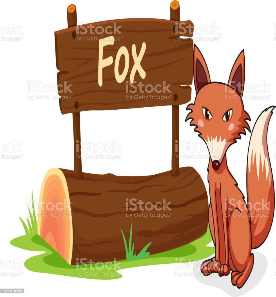 Fox and name plate royalty-free stock vector art