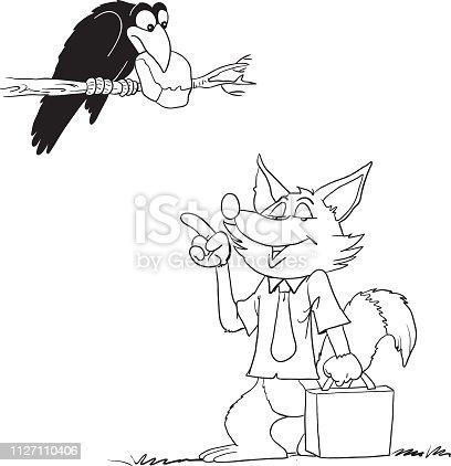 ᐈ Imagen De Ilustración De Vector De Fábula Cuervo Y El Zorro