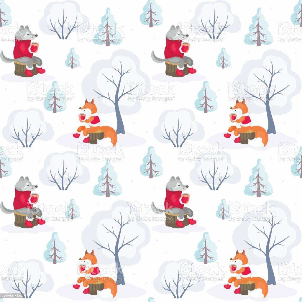 Fuchs Und Wolf Muster Stock Vektor Art und mehr Bilder von Baum ...