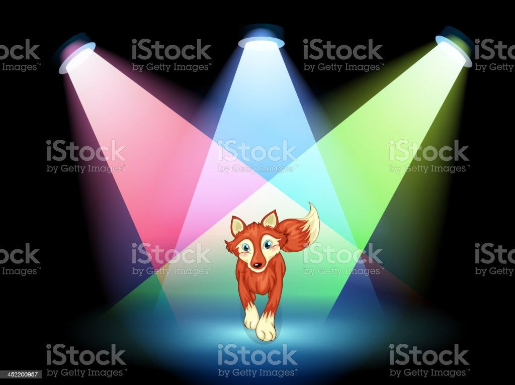 fox at the stage with spotlights royalty-free stock vector art