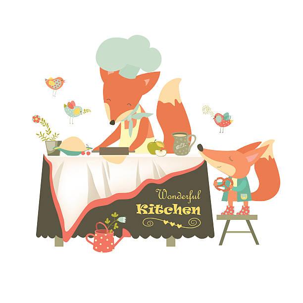 ilustraciones, imágenes clip art, dibujos animados e iconos de stock de fox hacer una tarta - busy restaurant kitchen