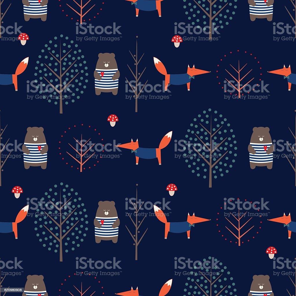 Fox, bear, trees, mushroom seamless pattern on dark blue background. ilustração de fox bear trees mushroom seamless pattern on dark blue background e mais banco de imagens de abstrato royalty-free