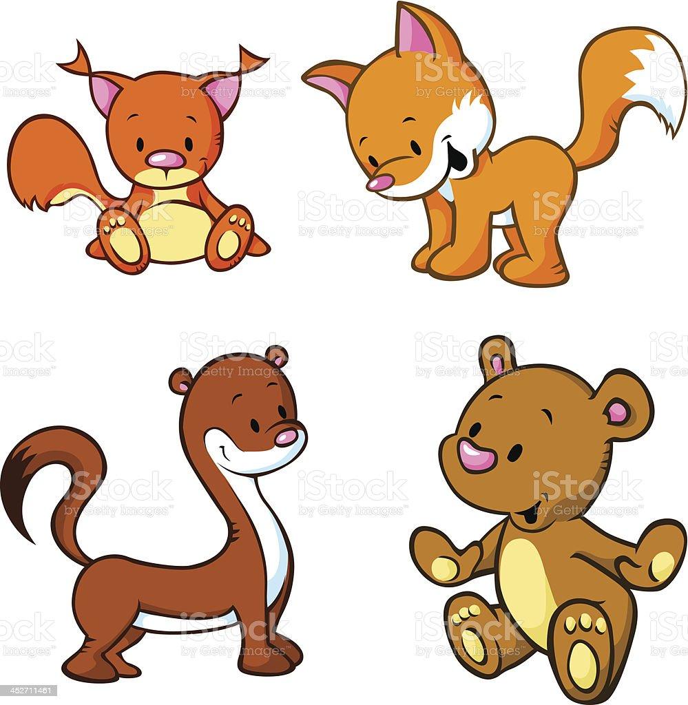 fox, ours et Écureuil Belette-animaux de dessin animé mignon - Illustration vectorielle