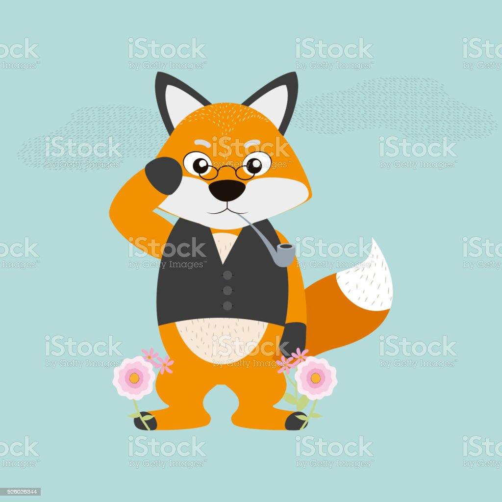Ilustración de Fox Cartoon Qith Lentes Y Pipa De Tabaco y más banco ...