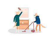 Fox couple doing household chores vector illustration
