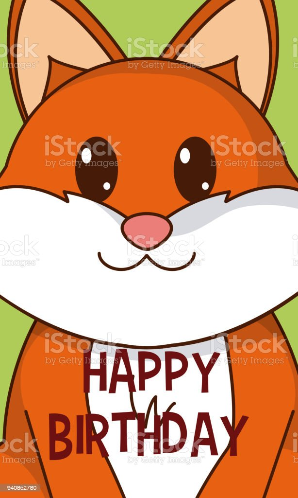 Fox Cute Birthday Card Stock Vector Art More Images Of Animal