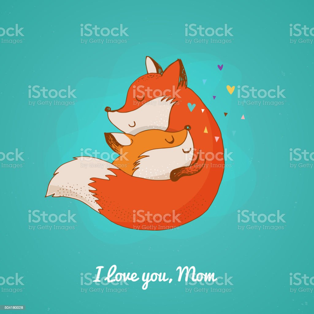 Fox, cute, lovely illustration and greetin card, Mother's day vector art illustration
