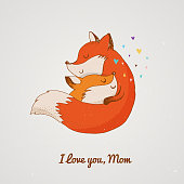 Fox, cute, lovely illustration and greetin card, Mother's day