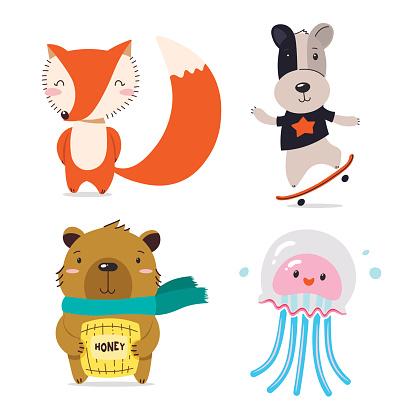 Fox, dog, bear, jellyfish. Cute cool little animals smiling. Kawaii cartoon baby animal character set. Flat hand drawn illustration kid's poster. Child theme. T-shirt print, wear, greeting card.