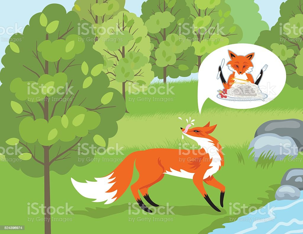 fox-dreaming-of-chicken-dinnr-by-a-river