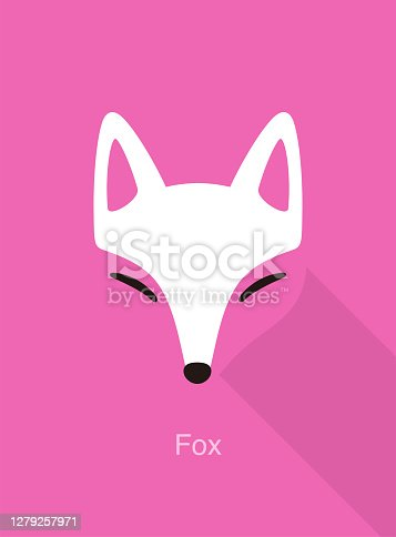 istock Fox face flat icon design, vector illustration 1279257971