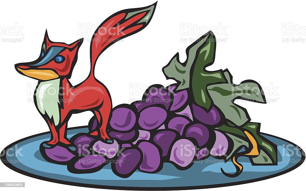 Fox got his Grapes royalty-free stock vector art