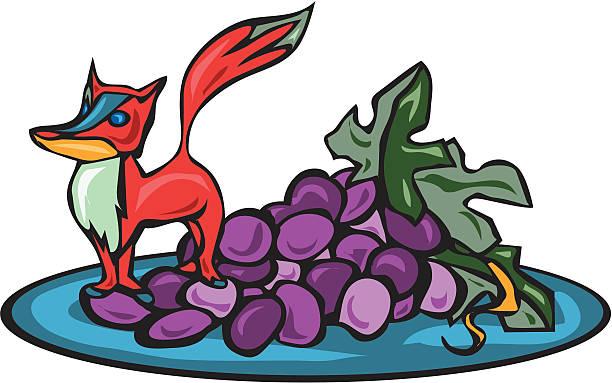 Fox got his Grapes vector art illustration
