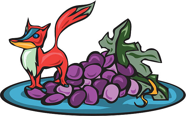 Fox got his Grapes vector art illustration