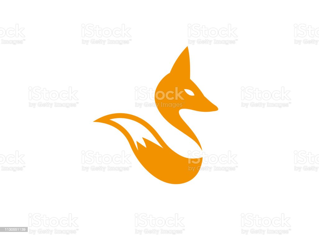 Fox Head And Tail Wolf For Logo Design Stock Illustration