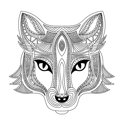 Fox head coloring book illustration. Black and white lines.