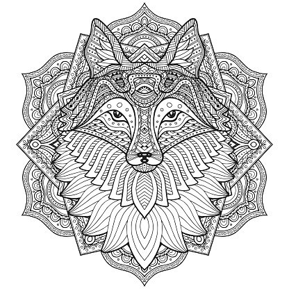 Fox head in detailed style. Zentangle fox. Vector pattern for tribal design. Geometric Ethnic motif with rhombus, triangles. Graphic style. Fox for print, web, textile, wrapping paper.