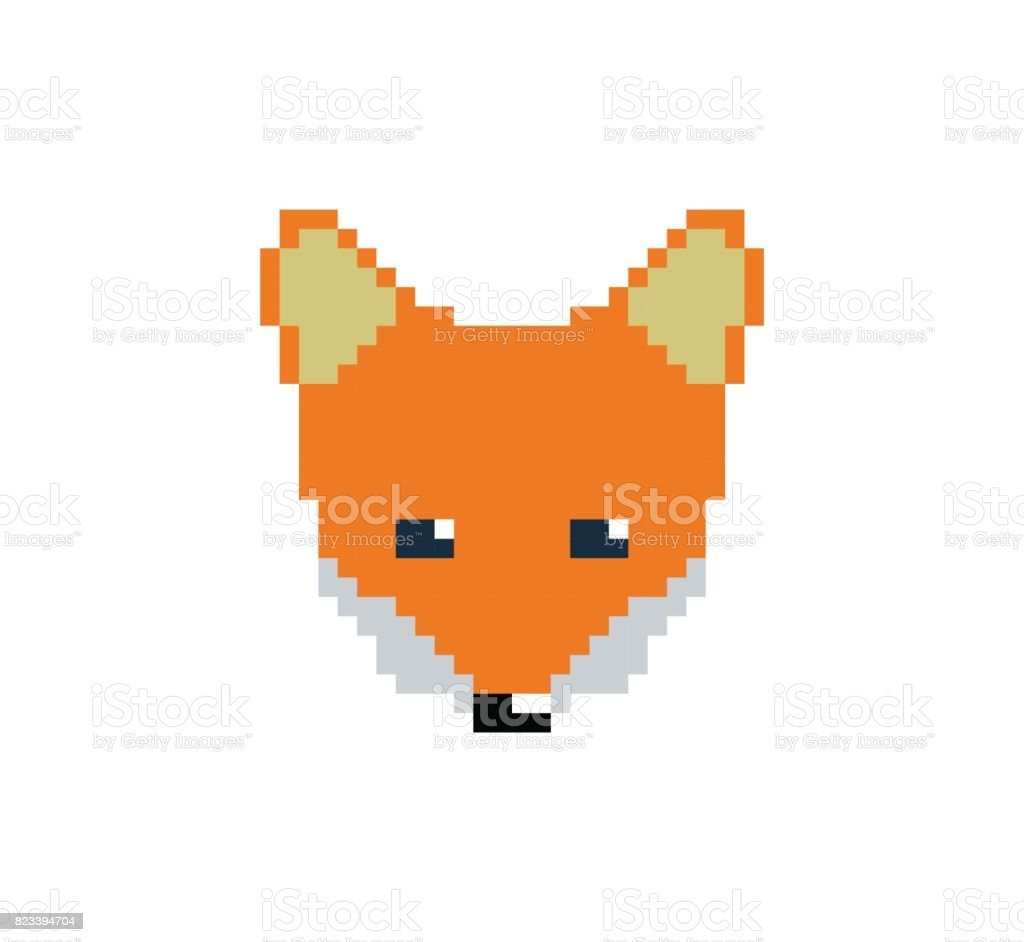 Tête De Renard En Pixel Art Style Fait De Petits Carrés De