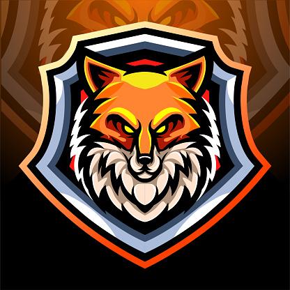 Fox head mascot. esport logo design