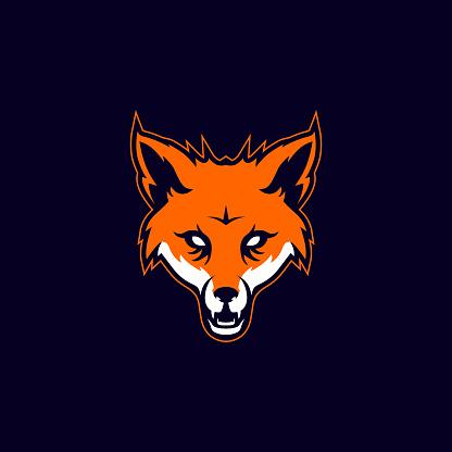 fox head mascot icon with aggressive expression