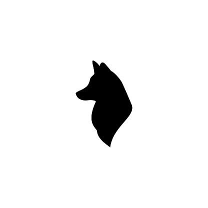 fox head profile icon isolated on white.