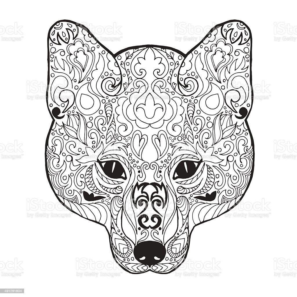 Zentangle изображением головы лисы эскиз татуировки или футболка для
